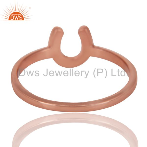 Suppliers 14K Rose Gold Plated Sterling Silver Handmade Alphabatic Design Stackable Ring