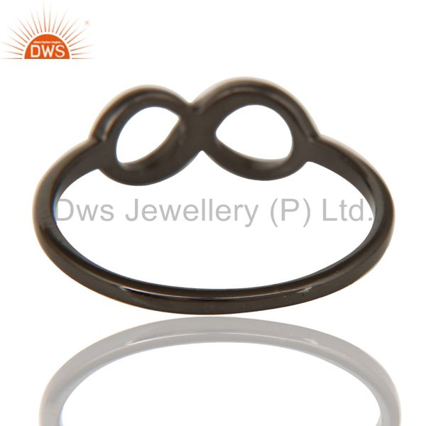 Suppliers Black Oxidized 925 Sterling Silver Handmade Without Stone Infinity Toe Ring