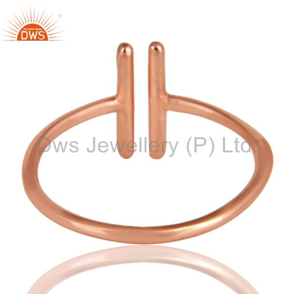 Suppliers 14K Rose Gold Plated 925 Sterling Silver Handmade Art Spacing Fashion Ring