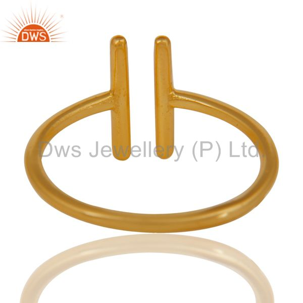 Suppliers 14K Yellow Gold Plated 925 Sterling Silver Handmade Art Spacing Fashion Ring