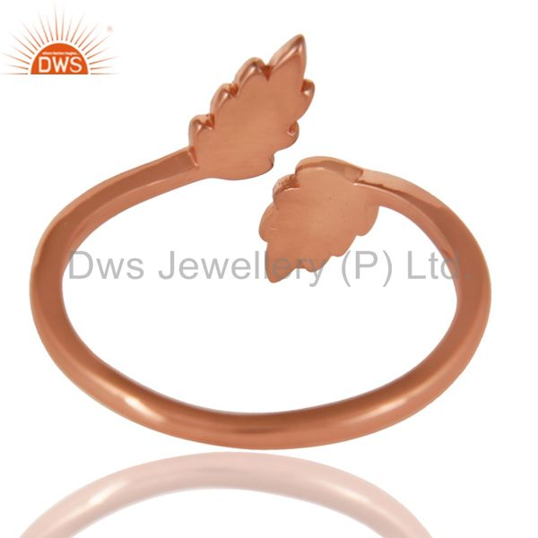 Suppliers 14K Rose Gold Plated Sterling Silver Handmade Leaf Band Design Stackable Ring