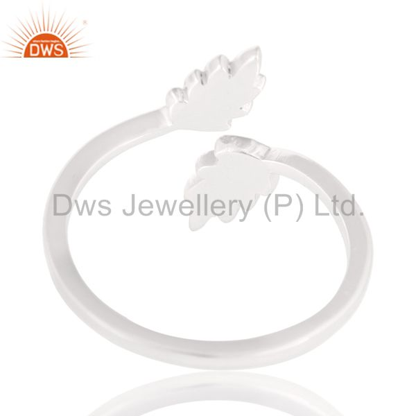 Suppliers Solid 925 Sterling Silver Handmade Leaf Band Design Stackable Ring
