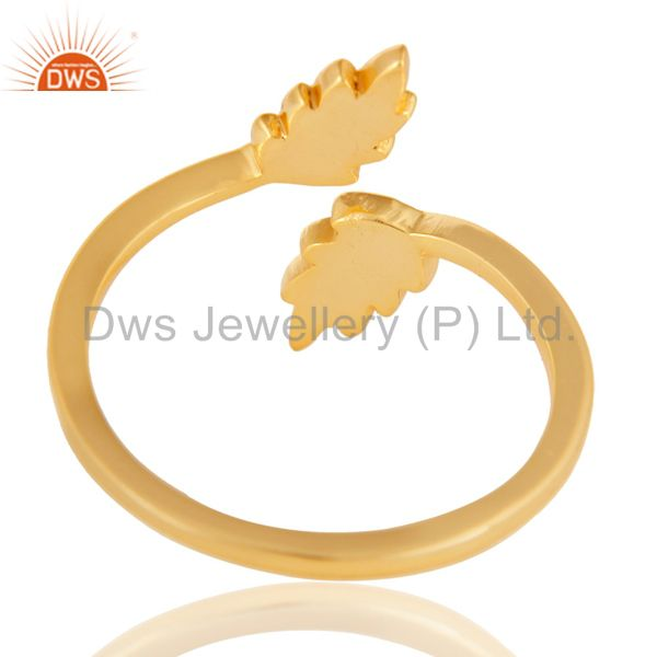 Suppliers 14K Gold Plated 925 Sterling Silver Handmade Leaf Band Design Stackable Ring
