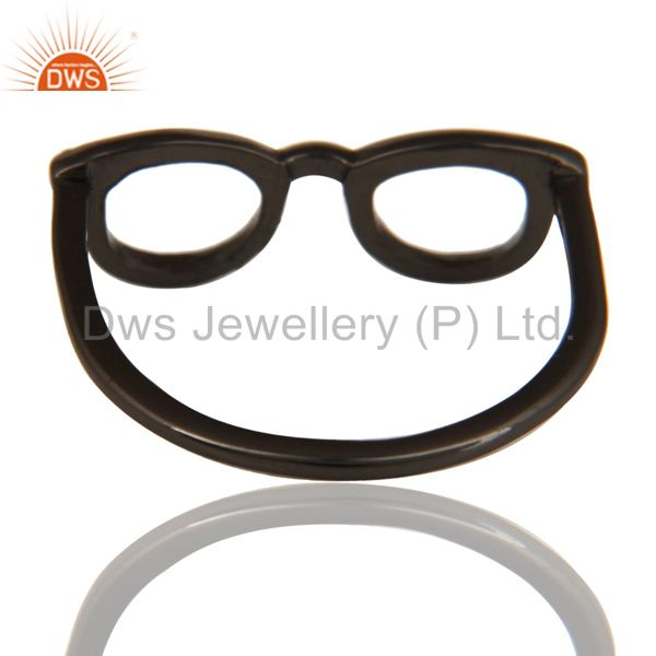 Suppliers Black Oxidized 925 Sterling Silver Handmade Art Goggle Design Stackable Ring