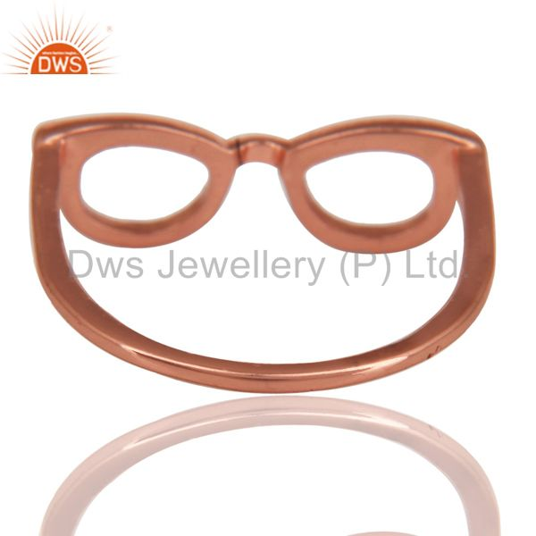 Suppliers 14K Rose Gold Plated Sterling Silver Handmade Art Goggle Design Stackable Ring