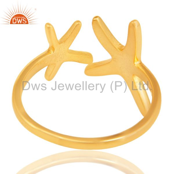 Suppliers 14K Yellow Gold Plated 925 Sterling Silver Handmade Without Stone Fashion Ring