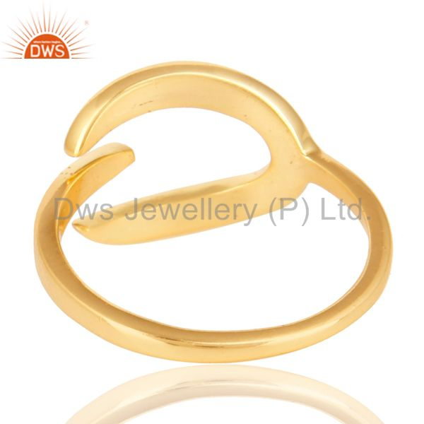Suppliers Beautiful Unique Design Ring With 14K Yellow Gold Plated 925 Sterling Silver