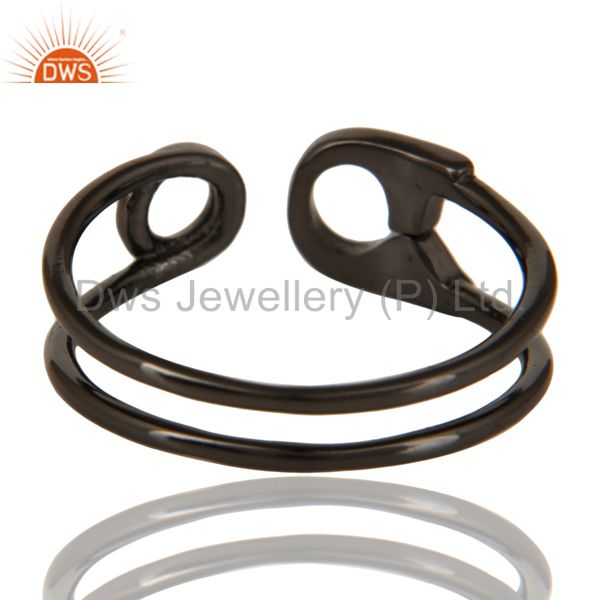 Suppliers Black Oxidized 925 Sterling Silver Handmade Without Stone Stackable Ring Jewelry