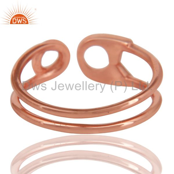 Suppliers 14K Rose Gold Plated Sterling Silver Handmade Without Stone Stackable Ring