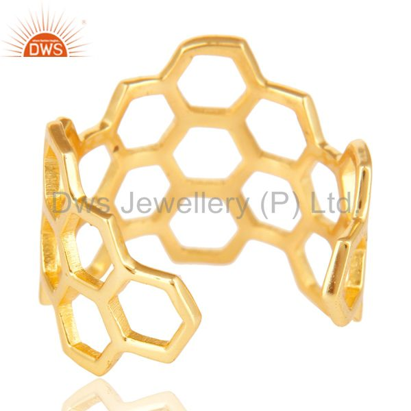 Suppliers 14K Yellow Gold Plated 925 Sterling Silver Without Stone Fashion Cocktail Ring