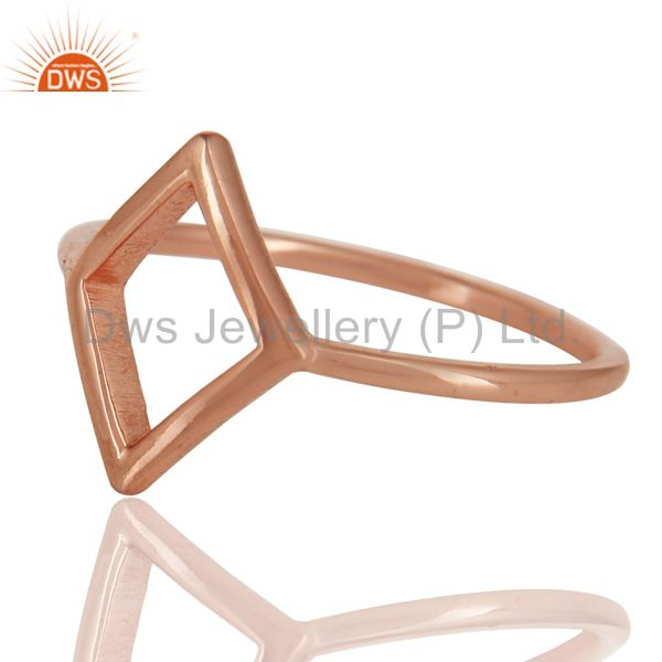 Suppliers 14K Rose Gold Plated Sterling Silver Handmade Art Without Stone Fashion Ring