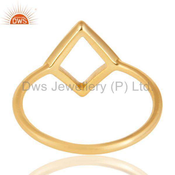 Suppliers 14K Yellow Gold Plated Sterling Silver Handmade Art Without Stone Fashion Ring