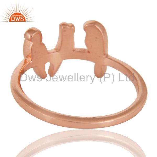 Suppliers 14K Rose Gold Plated 925 Sterling Silver Handmade Birds Design Stackable Ring