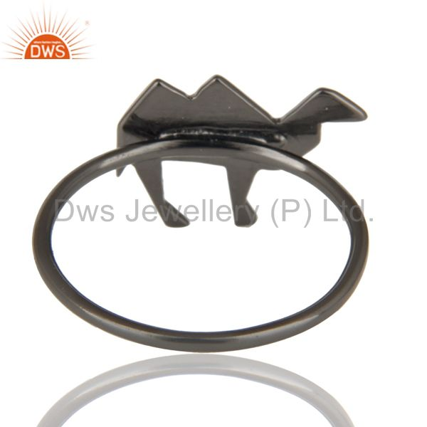 Suppliers Black Oxidized 925 Sterling Silver Handmade Art Deco Camel Design Stackable Ring