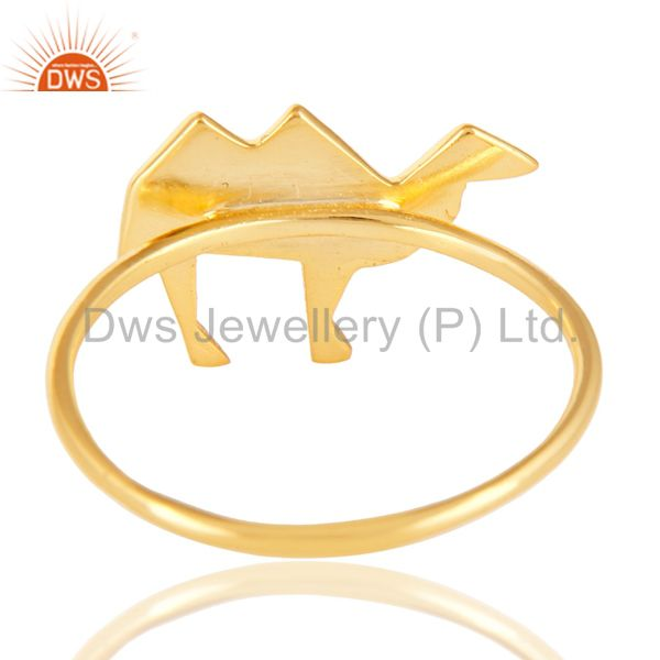 Suppliers 14K Yellow Gold Plated 925 Sterling Silver Handmade Camel Design Stackable Ring