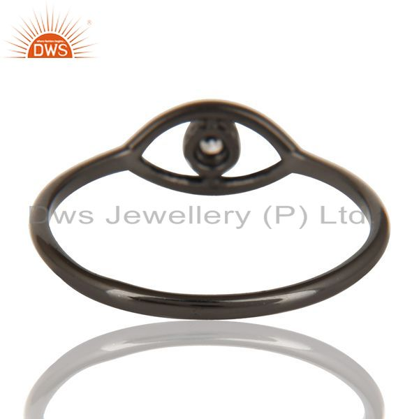 Suppliers Black Oxidized 925 Sterling Silver Handmade White Zirconia Stackable Ring