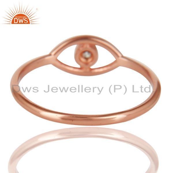 Suppliers 14K Rose Gold Plated 925 Sterling Silver Handmade White Zirconia Stackable Ring