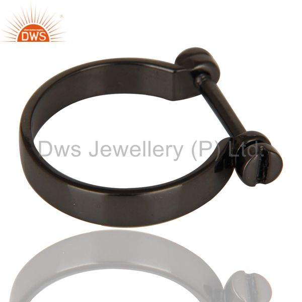 Suppliers Black Oxidized 925 Sterling Silver Handmade Lock Style Openable Ring Jewelry