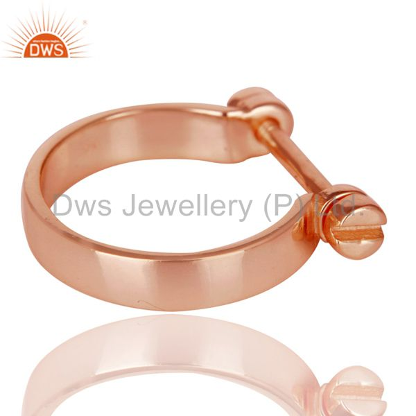 Suppliers 14K Rose Gold Plated 925 Sterling Silver Handmade Lock Style Openable Ring
