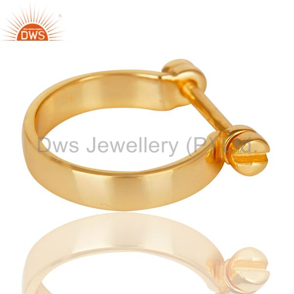 Suppliers 14K Yellow Gold Plated 925 Sterling Silver Handmade Lock Style Openable Ring