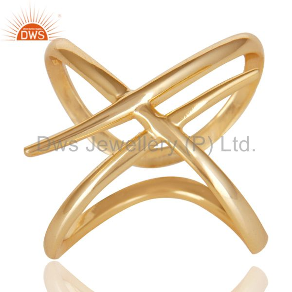 Suppliers 14K Yellow Gold Plated 925 Sterling Silver Handmade Art Deco Stackable Ring