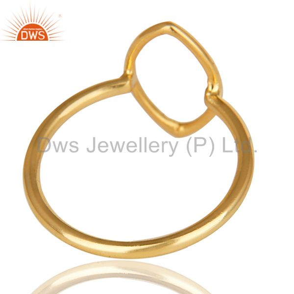 Suppliers 14K Yellow Gold Plated Sterling Silver Handmade Without Stone Stackable Ring