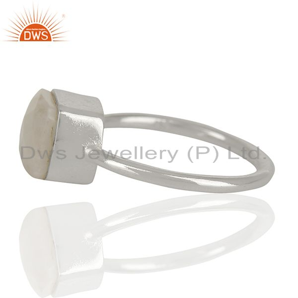 Suppliers White Agate Gemstone 925 Solid Silver Stackable Rings Manufacturer