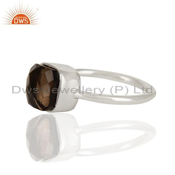 Suppliers Smoky Quartz Gemstone 925 Sterling Silver Ring Jewelry Manufacturer