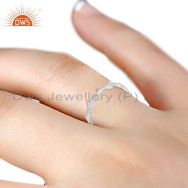Suppliers Olive Leaf Narrow 925 Sterling Silver Band Ring Jewellery