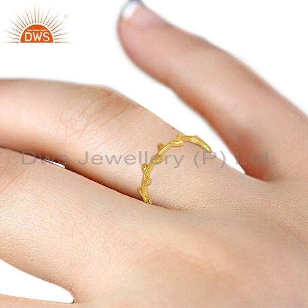 Suppliers Olive Leaf Narrow 925 Sterling Silver 14K Gold  Plated Band Ring Jewellery