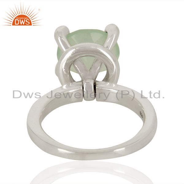 Suppliers Aqua Chalcedony And CZ Stackable 925 Sterling Silver Ring Gemstone Jewelry
