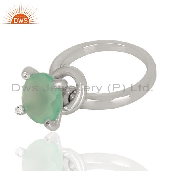 Suppliers Prong Set Aqua Chalcedony Gemstone 92.5 Silver Wedding Ring Wholesale