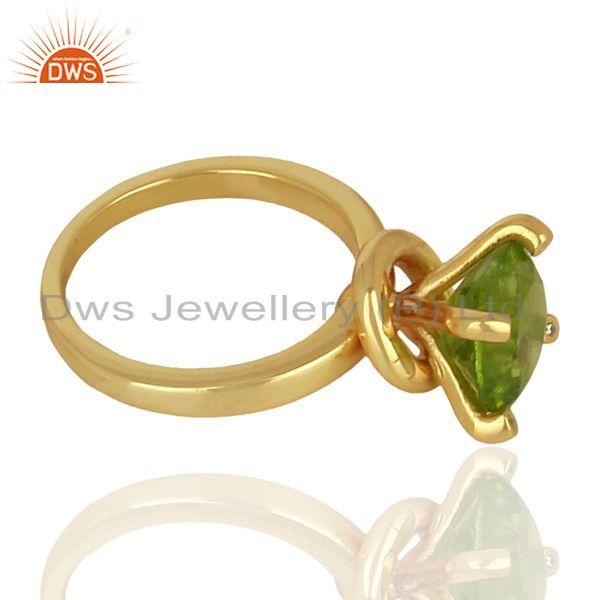 Suppliers Natural Peridot Stackable 925 Sterling Silver Ring Gemstone Jewelry