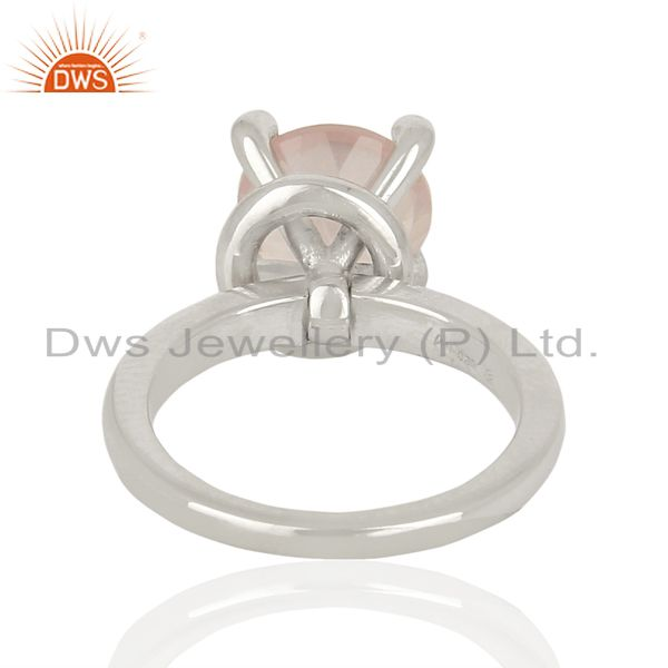 Suppliers Rose Quartz CZ Stackable 925 Sterling Silver Prong Set Ring Gemstone Jewelry
