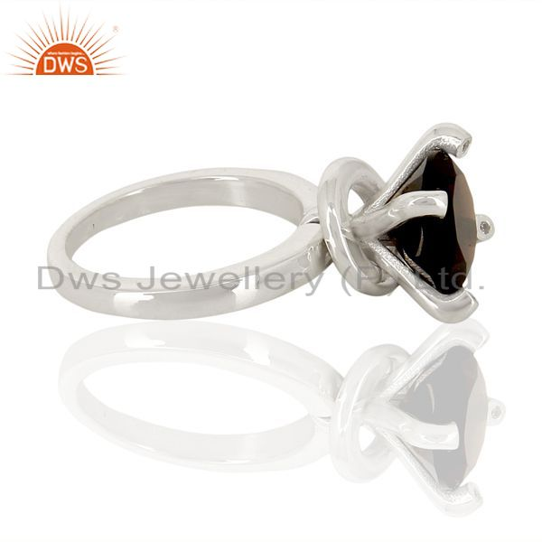 Suppliers Smoky Quartz And CZ Stackable 925 Sterling Silver Prong Set Ring Jewelry