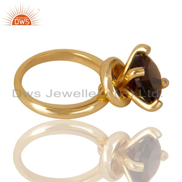 Suppliers 14K Yellow Gold Plated 925 Sterling Silver Smokey Topaz & CZ Prong Set Ring