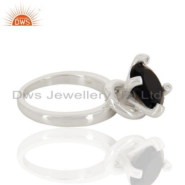 Suppliers Black Onyx And CZ Stackable 925 Sterling Silver Prong Set Ring Gemstone Jewelry