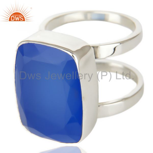 Suppliers Stunning 925 Sterling Silver Handmade Dyed Blue Chalcedony Cocktail Ring Jewelry