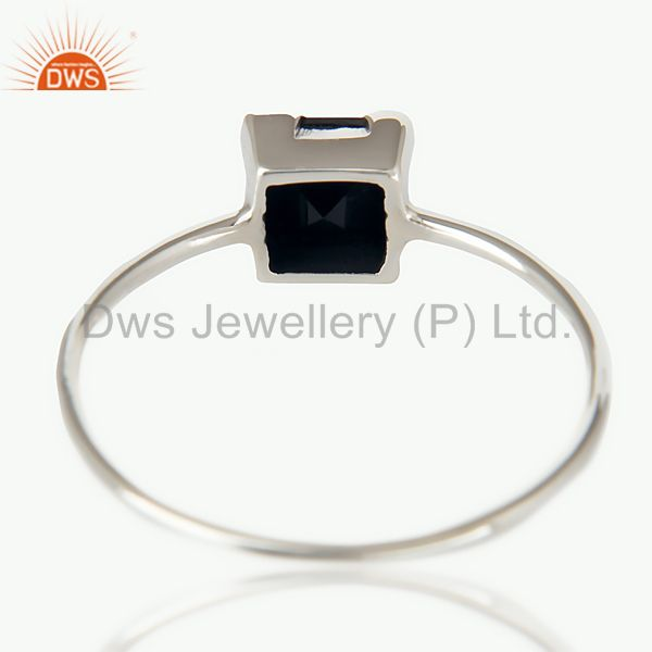 Suppliers Handmade 925 Sterling Silver Black Onyx Gemstone Stackable Ring Jewelry