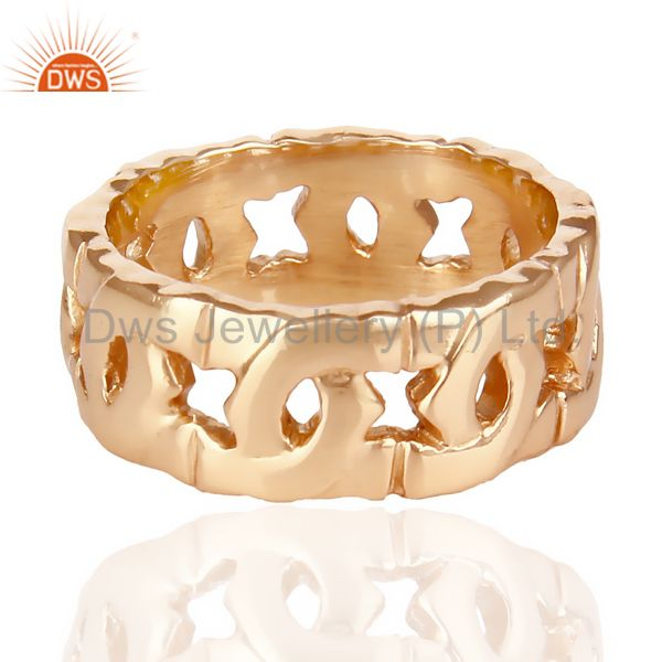 Suppliers 14K Rose Gold Plated 925 Sterling Silver Art Deco Band Ring Gift Jewelry