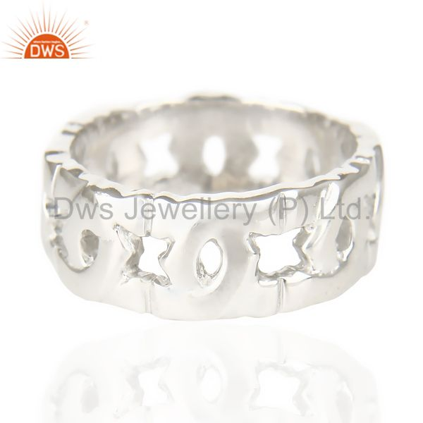 Suppliers White Rhodium 925 Sterling Silver Art Deco Band Ring Gift Jewelry