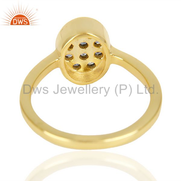 Suppliers Natual Sapphire Oval Shape 14K Gold Plated 92.5 Sterling Silver Solid Ring