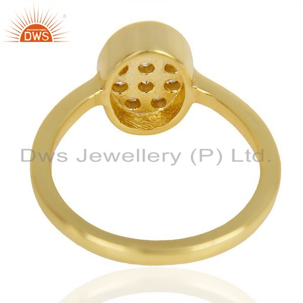 Suppliers White Cz Oval Shape 14K Gold Plated 92.5 Sterling Silver Solid Ring