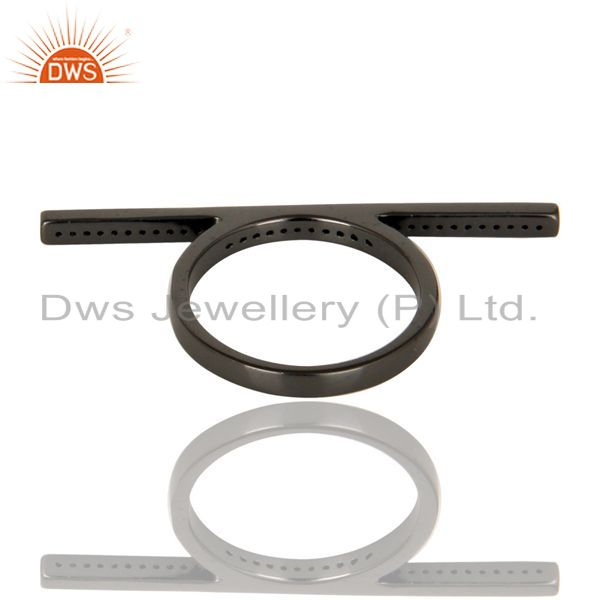 Suppliers CZ Knuckle Black Oxidized 925 Sterling Silver Ring Personalized Jewelry