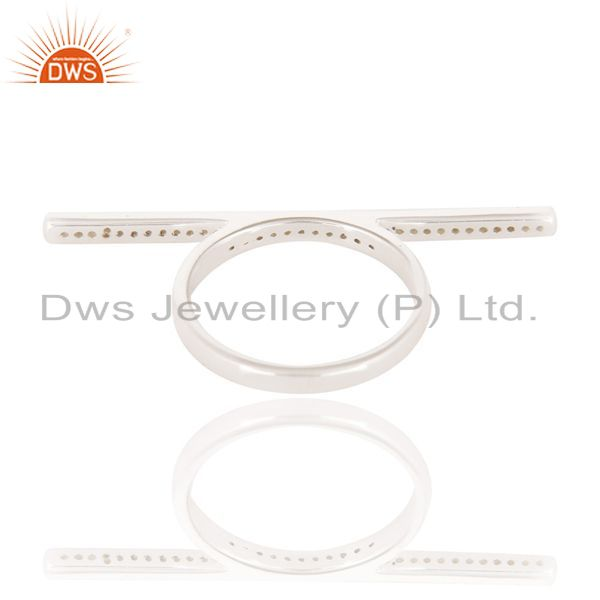 Suppliers CZ Cocktail White Rhodium Plated 925 Sterling Silver Ring Gemstone Jewelry