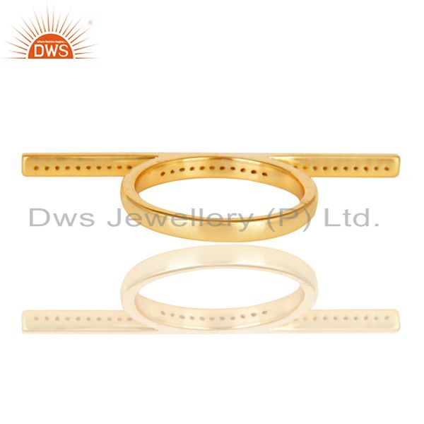 Suppliers CZ Knuckle 14K Yellow Gold Plated 925 Sterling Silver Ring Personalized Jewelry