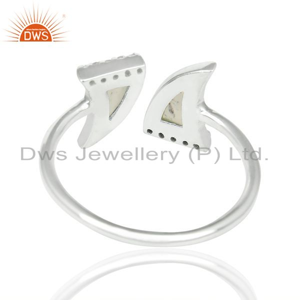 Best Selling Aqua Chalcedony Two Horn Cz Studded Openable Adjustable 92.5 Sterling SilverRing