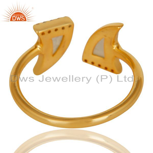 Suppliers Aqua Chalcedony Two Horn Cz Studded Adjustable 14K Gold Plated 92.5 Silver Ring