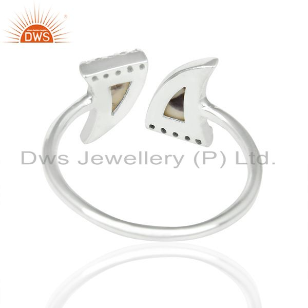 Suppliers Howlite Two Horn Cz Studded Openable Adjustable 92.5 Sterling Silver Ring