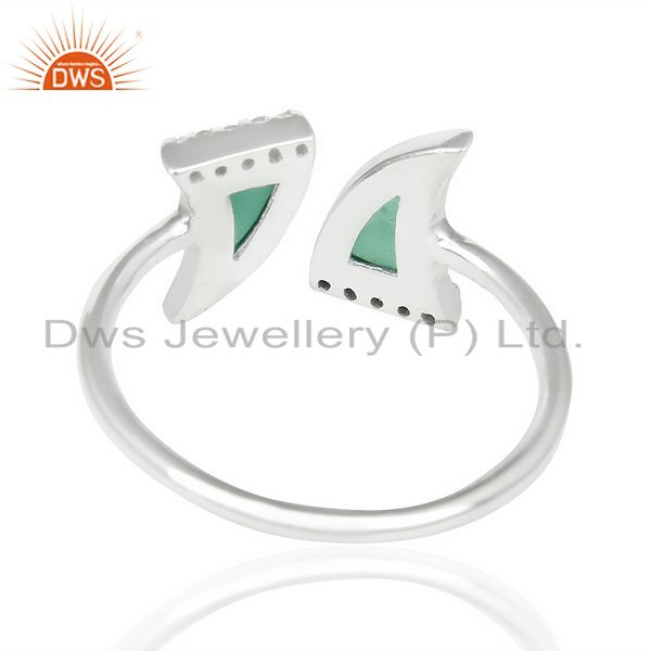 Suppliers Green Onyx Two Horn Cz Studded Adjustable Openable 92.5 Sterling Silver Ring